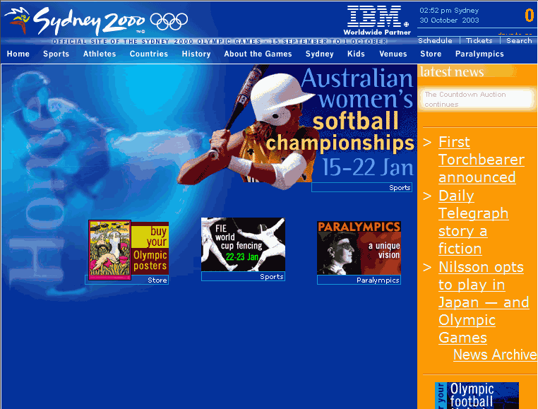 SOCOG website for the Sydney 2000 Olympics
